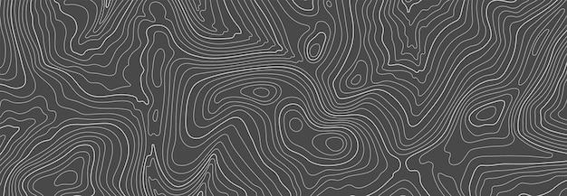 Schwarze topografische linienkonturkarte