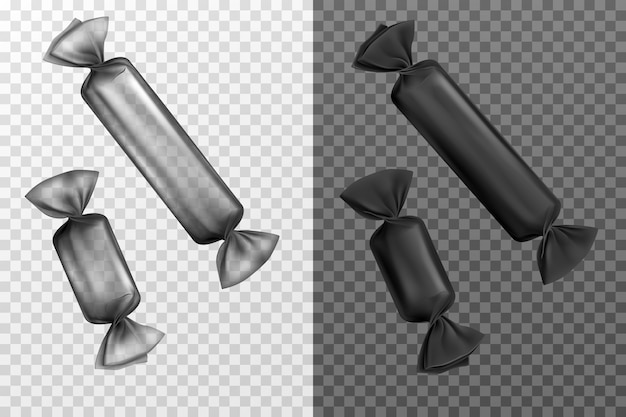 Schwarze transparente folienbonbonverpackungen