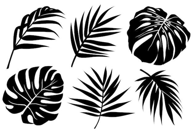 Schwarze tropische blätter silhouetten gesetzt