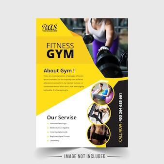 Schwarze und gelbe fitness-studio-cover-vorlage