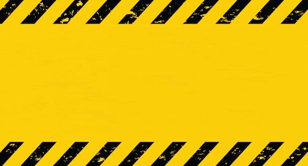 Schwarze und gelbe linie gestreift. vorsichtband. unbelegter warnender hintergrund.