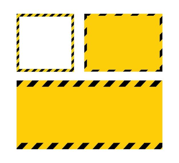 Schwarze und gelbe linie gestreifte leere warnschild gelber hintergrund vorlage mit platz für text