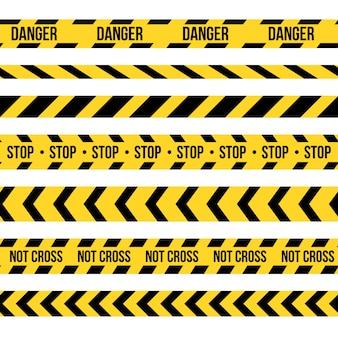 Schwarze und gelbe polizeistreifengrenze des musters