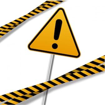 Schwarze und gelbe streifen mit warnschildern.