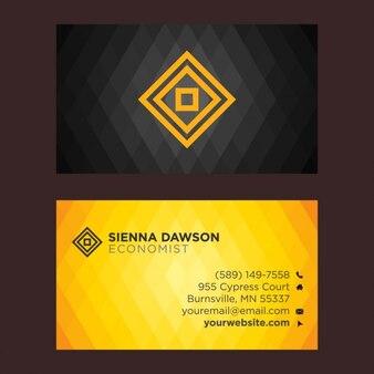 Schwarze und gelbe visitenkarte mit rhombus