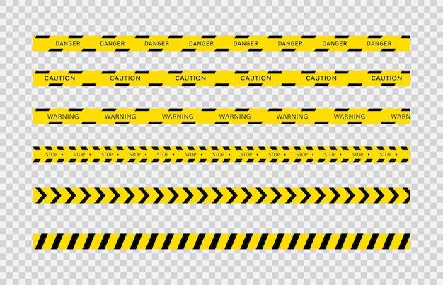 Schwarze und gelbe warnbänder