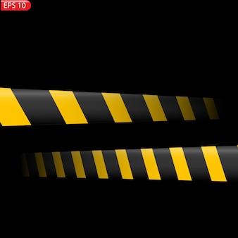 Schwarze und gelbe warnlinien isoliert. realistische warnbänder.