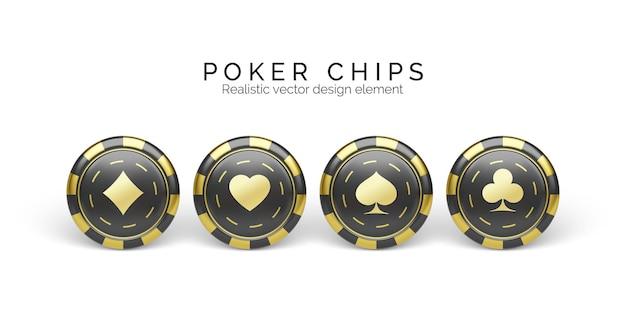 Schwarze und goldene casino-chips, isoliert auf weiss. spielchips mit spielkartensymbol. vektor-illustration