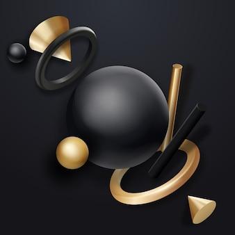 Schwarze und goldene geometrische formenobjekte auf dunklem hintergrund fließende realistische geometrieelemente