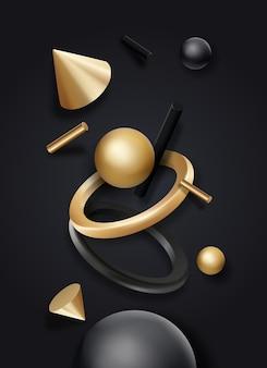 Schwarze und goldene geometrische formenobjekte auf dunklem hintergrund