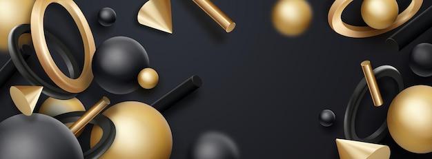Schwarze und goldene geometrische formenobjekte fließende realistische vektorgeometrieelemente