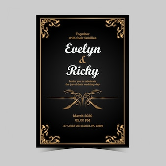Schwarze und goldene hochzeitseinladungskarte