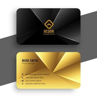 Schwarze und goldene königliche visitenkarte im geometrischen stil