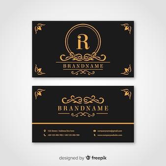Schwarze und goldene visitenkarte