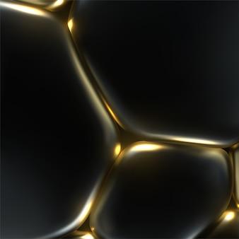 Schwarze und goldene weiche blasen. abstrakter hintergrund. 3d-illustration. zellmembranspannungseffekt.