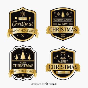Schwarze und goldene weihnachtsabzeichenansammlung