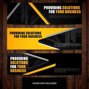 Schwarze und orange firmenfahne entwerfen vorlagen mit kundenspezifischen formen