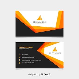Schwarze und orange visitenkarte mit logo
