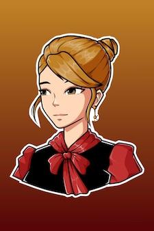 Schwarze und rote kleidermädchen-charakterillustration