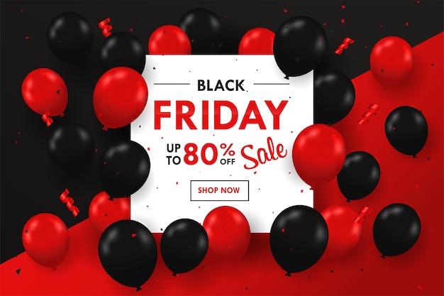 Schwarze und rote luftballons schweben auf der seite des textfeldes blackfriday sale festliches special.