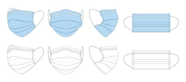 Schwarze und weiße, blaue handgezeichnete medizinische maske.