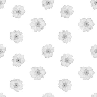 Schwarze und weiße blume auf weißem hintergrund nahtloses muster
