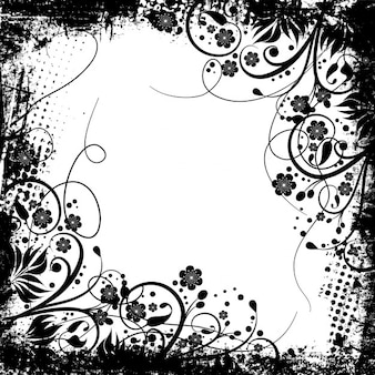 Schwarze und weiße blumen-rahmen