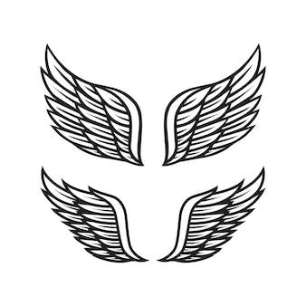 Schwarze und weiße engelsflügel