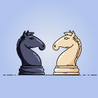 Schwarze und weiße ritter des schachs