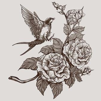 Schwarze und weiße rosen und vogel