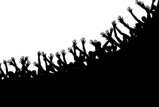 Schwarze und weiße silhouetten von springenden glücklichen und fröhlichen menschen. vektor-illustration. eps10