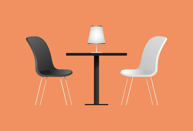 Schwarze und weiße stühle und tisch im café. vektorillustration mit möbelelementen für ein interieur des cafés. flacher stil