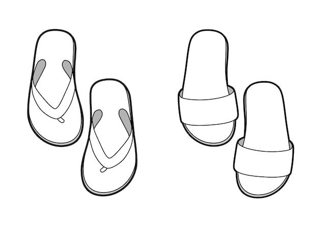 Schwarze und weiße vektor-flip-flops, skizze