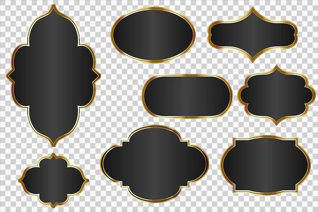 Schwarze vektoretiketten oder abzeichen mit goldenen rahmen