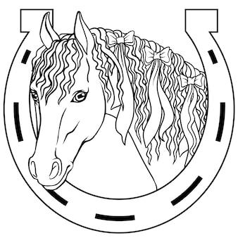 Schwarze vektorillustration des hufeisens und zwei pferde lokalisiert