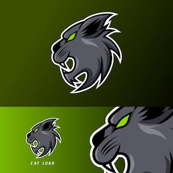 Schwarze verärgerte katzenmaskottchensport-spielesport-logoschablone für ausläuferteamverein