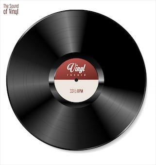 Schwarze vinyl-schallplatte isoliert auf weißem hintergrund