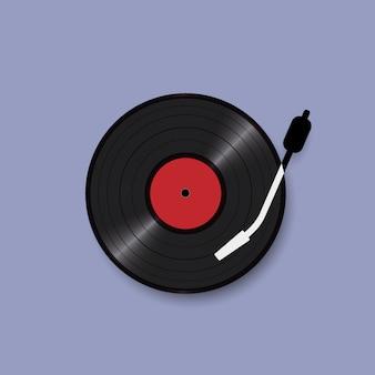 Schwarze vinylaufzeichnungsplatte, realistische art, retro- design des konzeptes