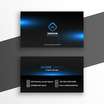 Schwarze visitenkarte mit blauer leuchtender schablone