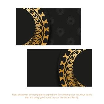 Schwarze visitenkarte mit goldenem abstraktem ornament