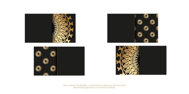 Schwarze visitenkarte mit goldenem indischem ornament