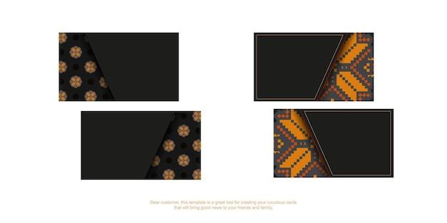 Schwarze visitenkarte mit orange slawischer verzierung. druckfertiges visitenkartendesign mit platz für ihren text und luxuriösen mustern.