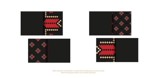 Schwarze visitenkarte mit slawischer verzierung. druckfertiges visitenkartendesign mit platz für ihren text und luxuriösen mustern.