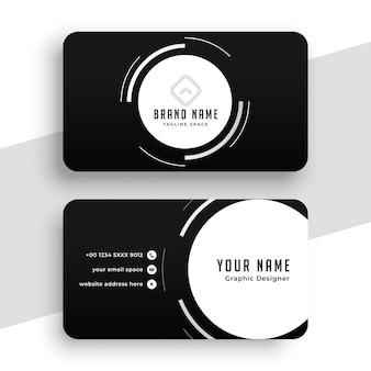 Schwarze visitenkarte mit weißen kreisen