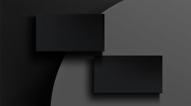 Schwarze visitenkartenschablone auf grauer zusammenfassung