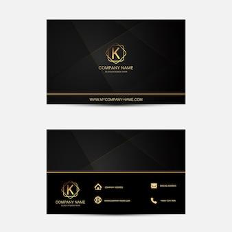 Schwarze Visitenkartenvorlage. FLACHES DESIGN