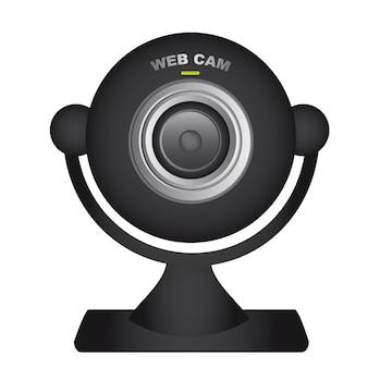 Schwarze web-cam über weißem hintergrund vektor