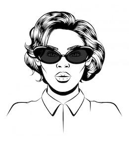Schwarze weiße abbildung eines weiblichen portraits auf weiß.