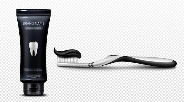 Schwarze zahnpasta in plastiktube und auf bürste
