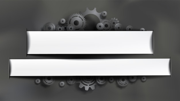 Schwarze zahnräder und zähne auf grauem tafelhintergrund. weißer rahmen mit exemplar